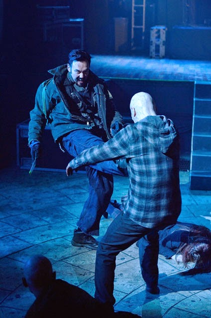 Kevin Durand as Vasiliy Fet fighting killing strigoi vampire in The Strain Season 1 Finale Episode 13 The Master