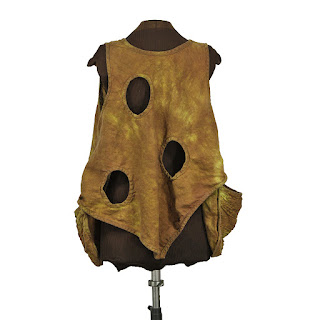 back, plus size lagenlook vest with holes and giant textured pockets