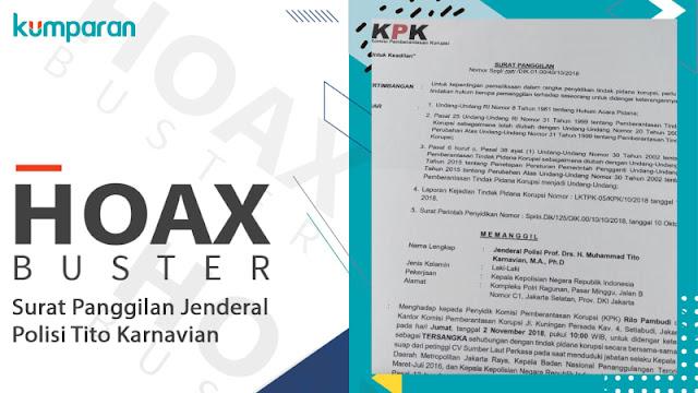 4 Fakta Hoaks Surat Panggilan KPK untuk Kapolri Tito
