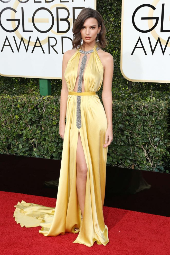 Emily Ratajkowski wears slinky satin dress to the 2017 Golden Globes