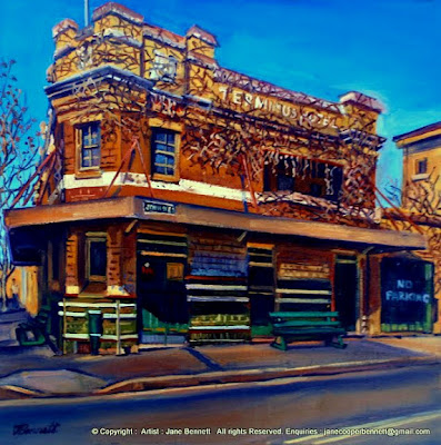 Plein air oil painting of the Terminus Hotel in  Pyrmont  from the Point hotel by industrial heritage artist Jane Bennett