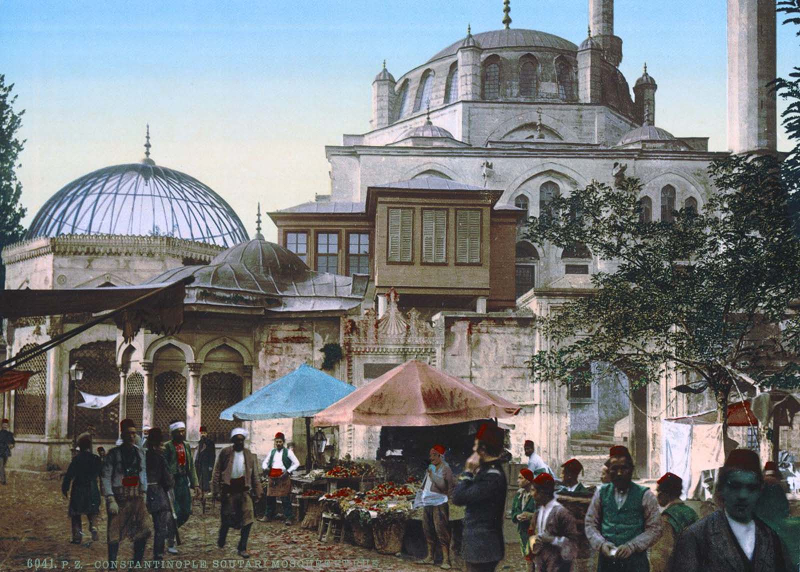 A mosque and street market.