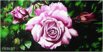 pink rose blossom and buds original acrylic painting on canvas by artist Jillian Crider