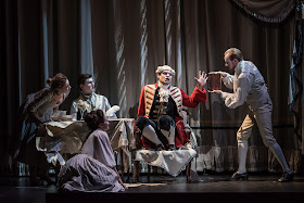British Youth Opera at the Peacock Theatre.  Matthew Buswell (Captain Philip Thicknesse) with Maria McGrann, William Thomas, Sîan Griffiths and Steven Swindells Photo:  Clive Barda/ArenaPAL