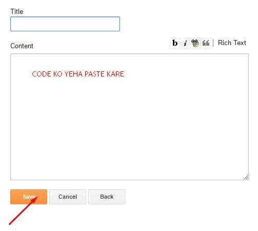 content box me code ko paste kare