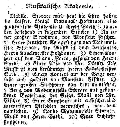 Das Wienerblättchen mars 1784 Nancy Storace