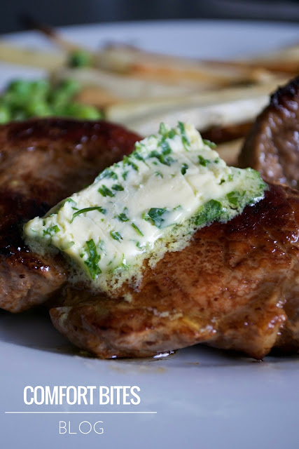 Pork Spare Rib Steaks with Dijon Butter - paleo primal gluten free grain free