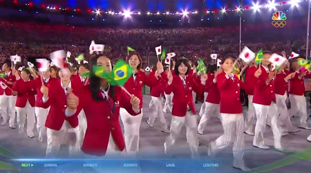 Team Japan athletes delegation waifus red suit jackets uniform outfit Rio 2016 Olympics Opening Ceremony