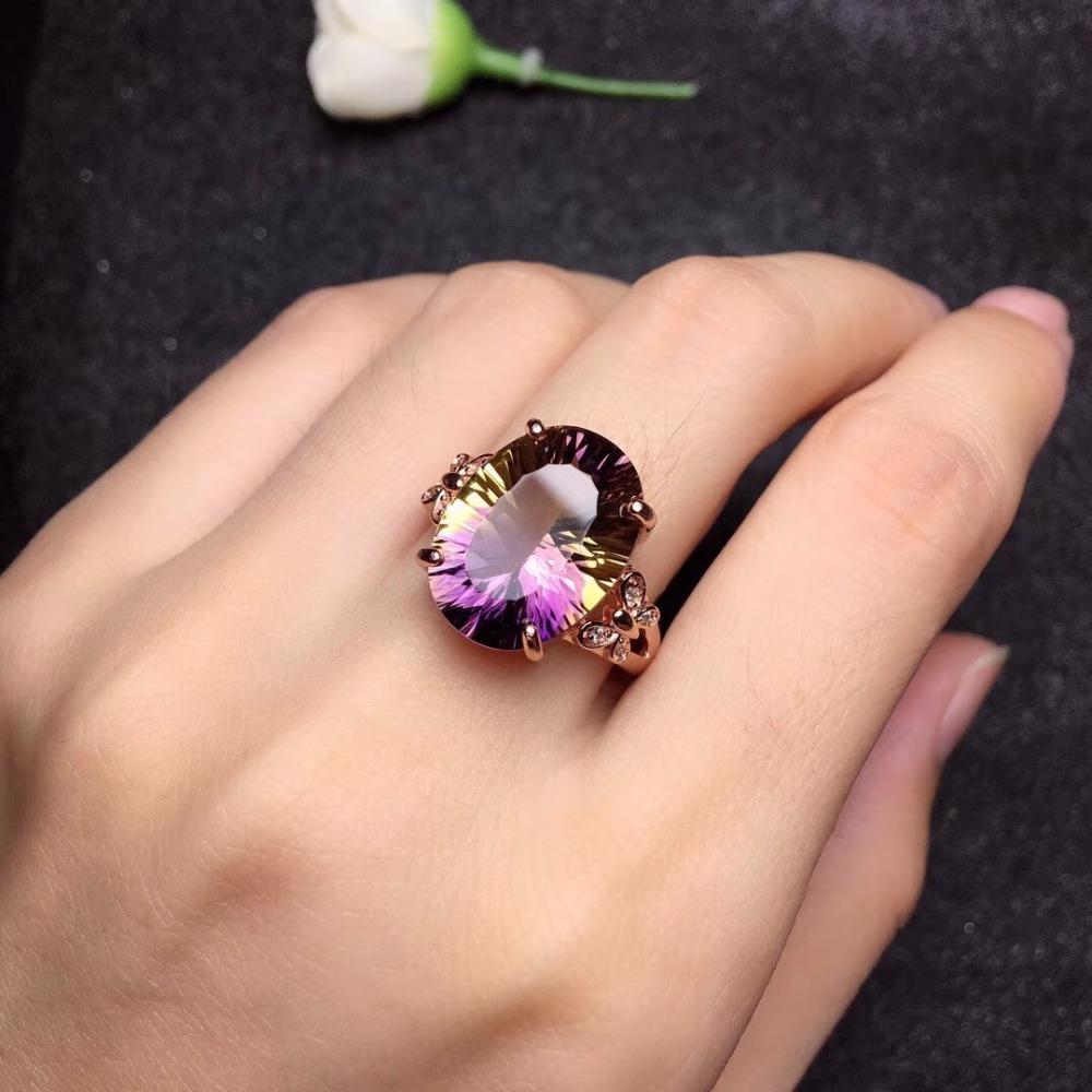 Natural Ametrine Gemstone 18K Rose Gold Plated 925 Sterling Silver Women Rings