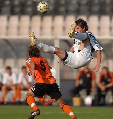 Funny Football Shoot Of Flying Player