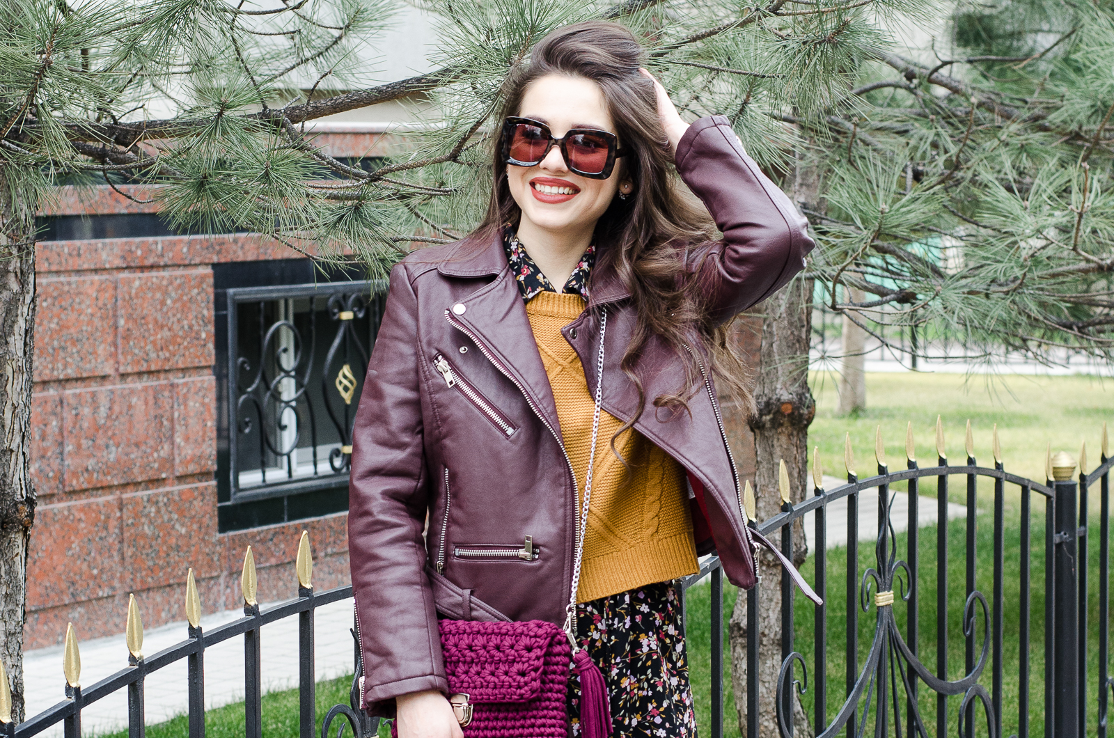 fashion blogger diyorasnotes vintage dress leather jacket crochet bag