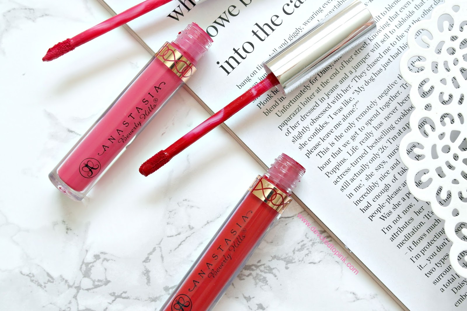 Anastasia Beverly Hills, liquid lipstick, carina, american doll, review, swatches