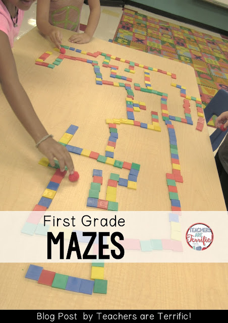 STEM Challenge! Simple mazes in first grade! Easy materials with fabulous learning! Check this blog post for more!