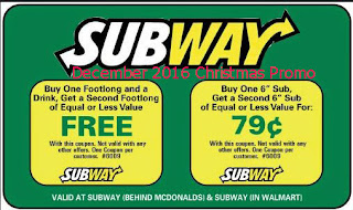 Subway coupons for december 2016