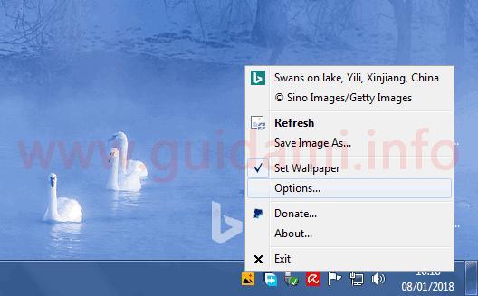 BingSnap menu contestuale opzioni