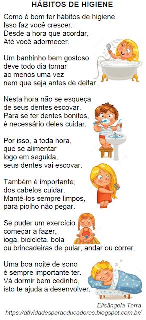 Texto HÁBITOS DE HIGIENE, de Elisângela Terra