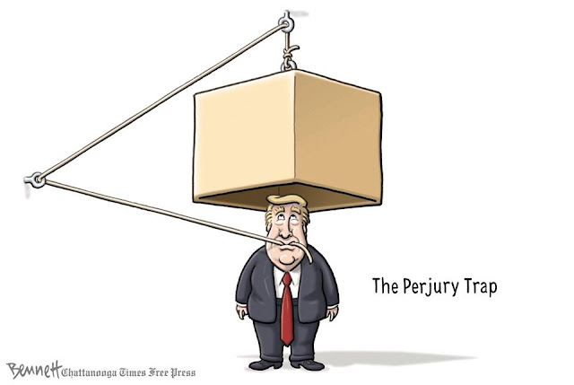 Title: The Perjury Trap.  Image:  Donald Trump clenching in his teeth a rope connected to a block hovering over his own head.