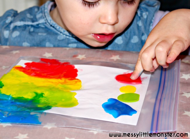 No Mess Rainbow Art - Messy Little Monster
