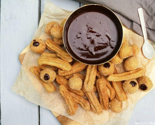 Vegan + Gluten Free Cinnamon Churros with a Chocolate Ganache