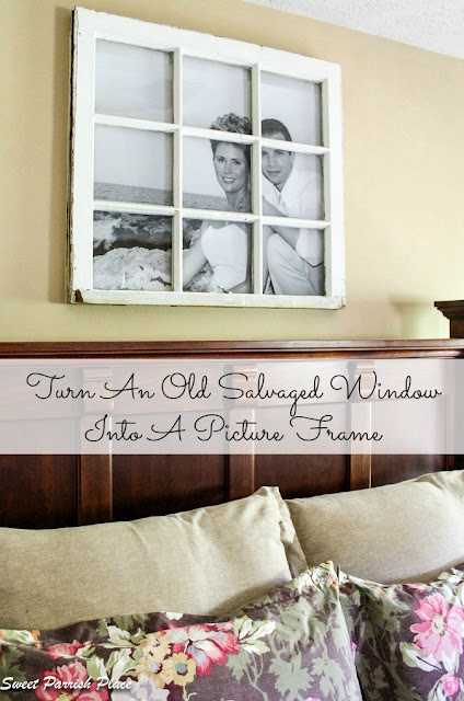 turn an old window frame into a photo frame