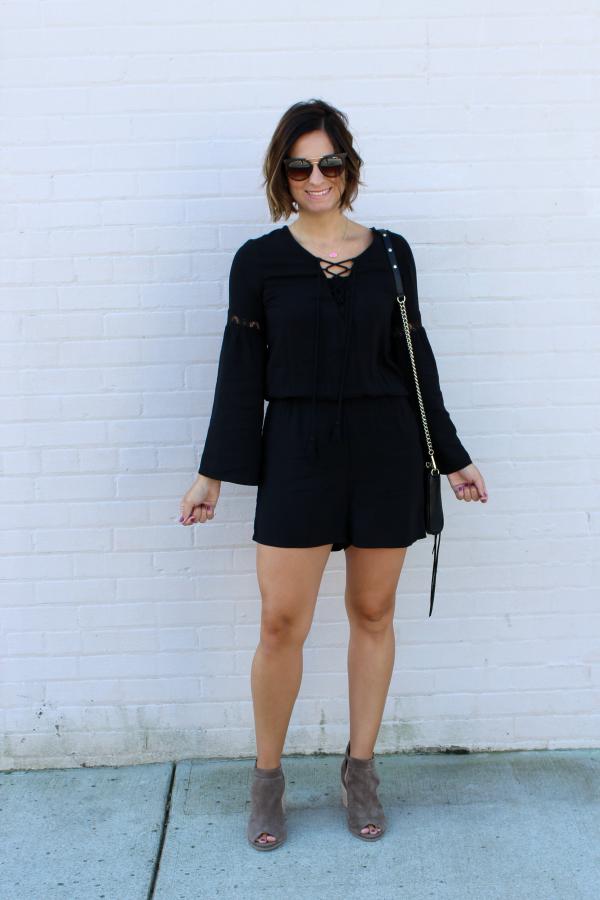 peep toe boots, black romper, mom style
