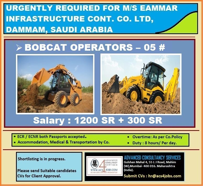 Bobcat Operators for ms Eammar Infrastructure In Saudi Arabia