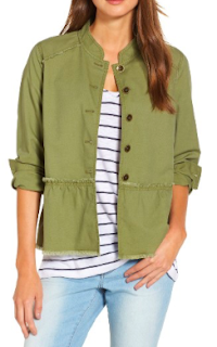 Caslon Twill Peplum Jacket in Olive
