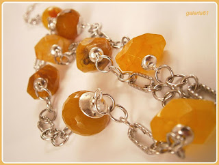 naszyjnik z żółtych kamieni, łańcuszek