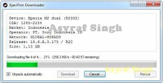 Xperia Firmware Downloader Tool download process