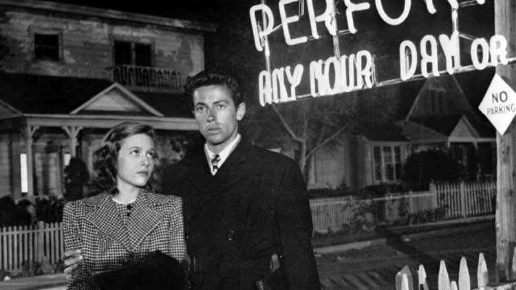 Cathy O'Donnell and Farley Granger are Keechie and Bowie in They Live the Night.