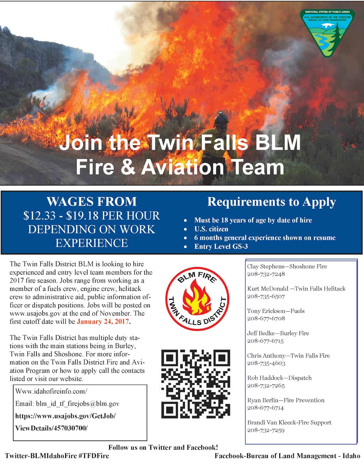 Idaho Fire Information: Join the Twin Falls BLM Fire and Aviation Team!