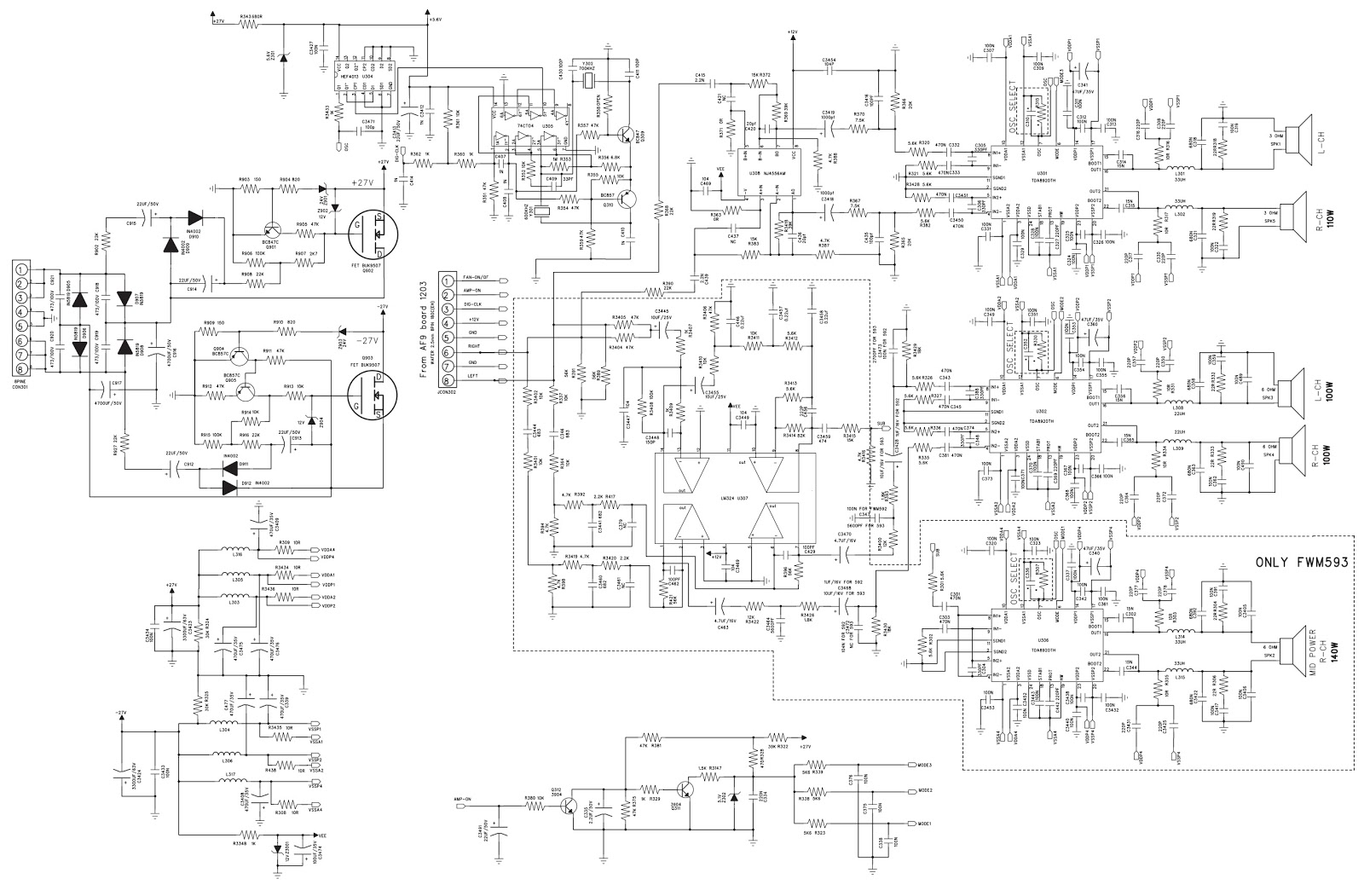circuit diagram 275w rms power amplifier click image to view high