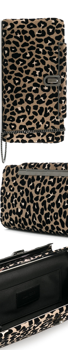 JIMMY CHOO  leopard print clutch bag