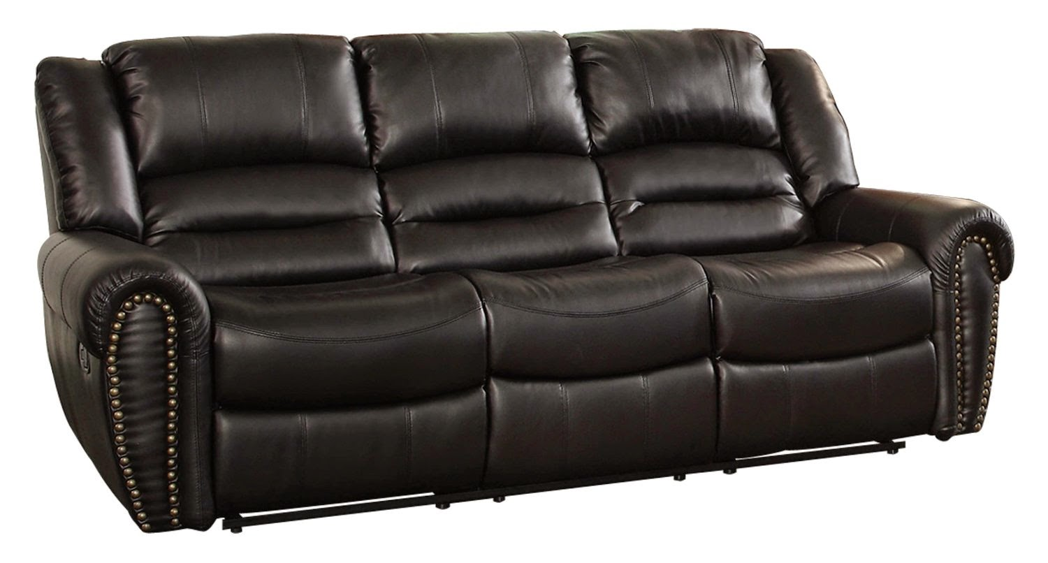 The Best Reclining Sofa Reviews Rotunda Black Faux Leather Dual Reclining Sofa