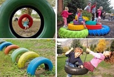 Juegos para niños hechos con neumaticos reciclados