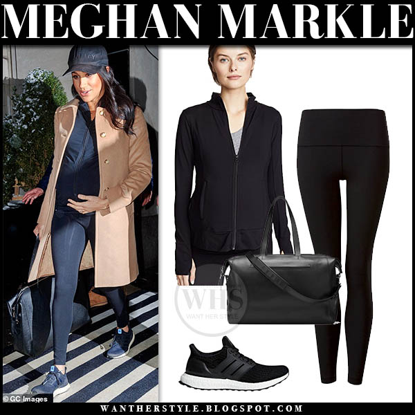 Meghan Markle Duchess of Sussex in camel coat, black lululemon leggings, black zip ingrid isabel jacket and black adidas sneakers. Casual travel outfits february 2019