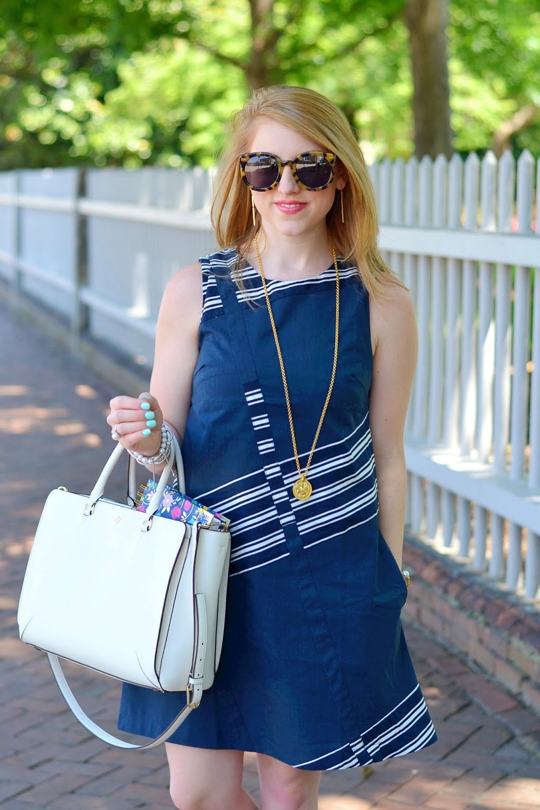 Navy & White Shift Dress