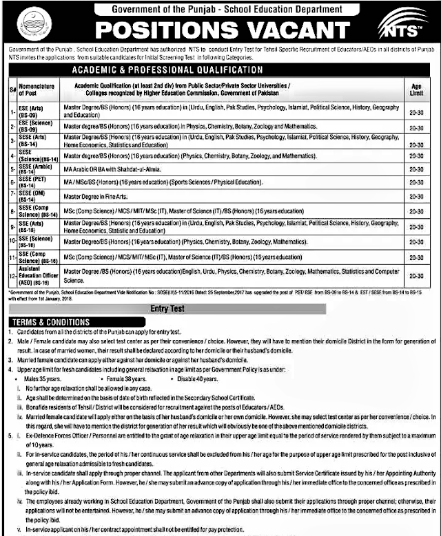 ADVERTISEMENT REGARDING ENTRY TEST FOR THE VACANT POSTS OF EDUCATORS (TEACHERS) / AEOs IN PUNJAB BY NATIONAL TESTING SERVICE (NTS)