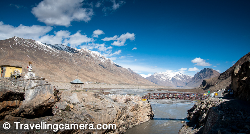 Soon after the Spiti river was again pretty close to us and now it was much wider than what we had seen in preview 2 days. And these bridges over the river were very fascinating for my travellingcamera.