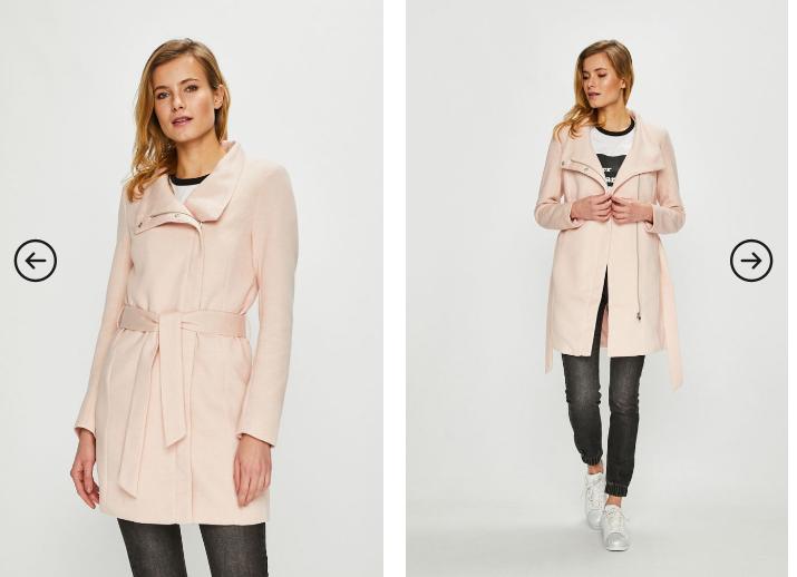 Only - Palton roz elegant si ieftin pentru iarna cu cordon