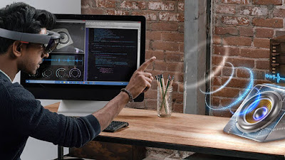 Source: Microsoft. What mixed reality looks like through the Microsoft HoloLens.