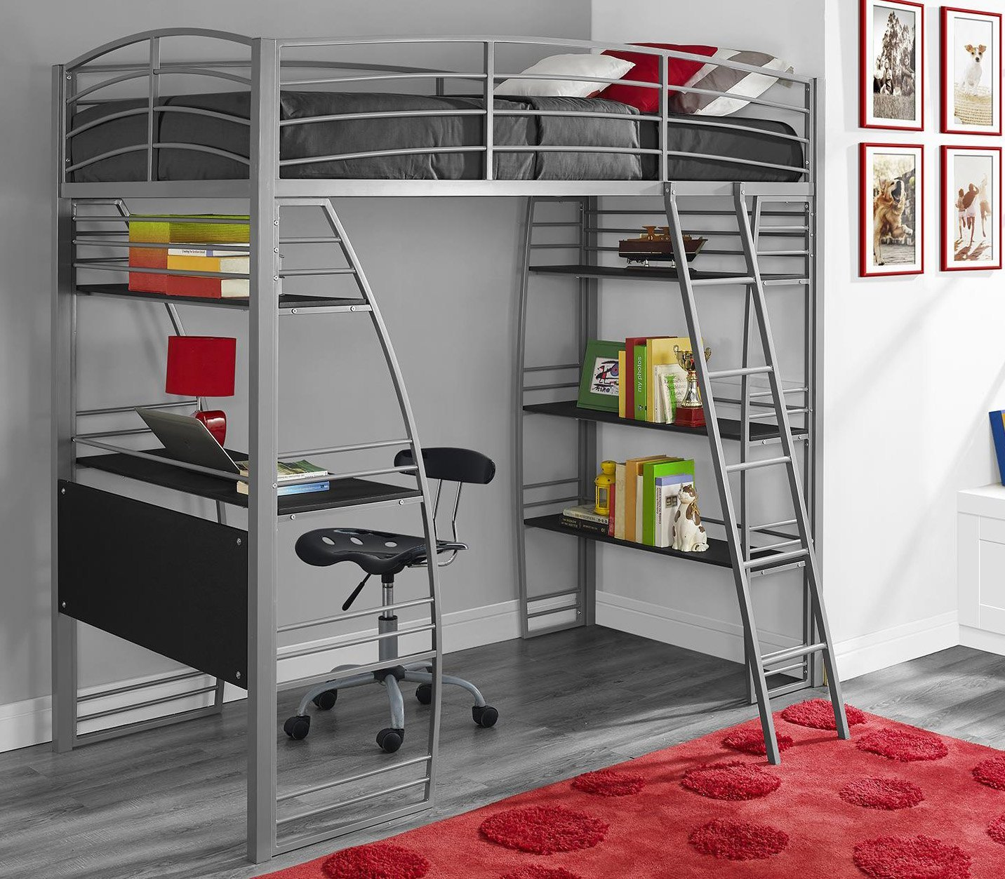 Metal Twin Loft Bed For Kids With Workstation Desk Underneath