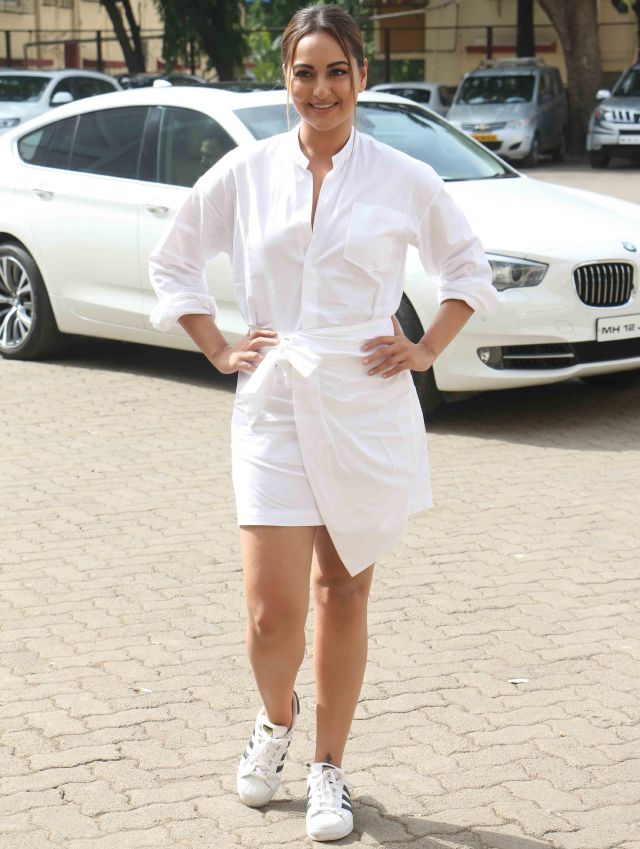 Sonakshi Sinha At No Filter With Neha In White Mini Dress