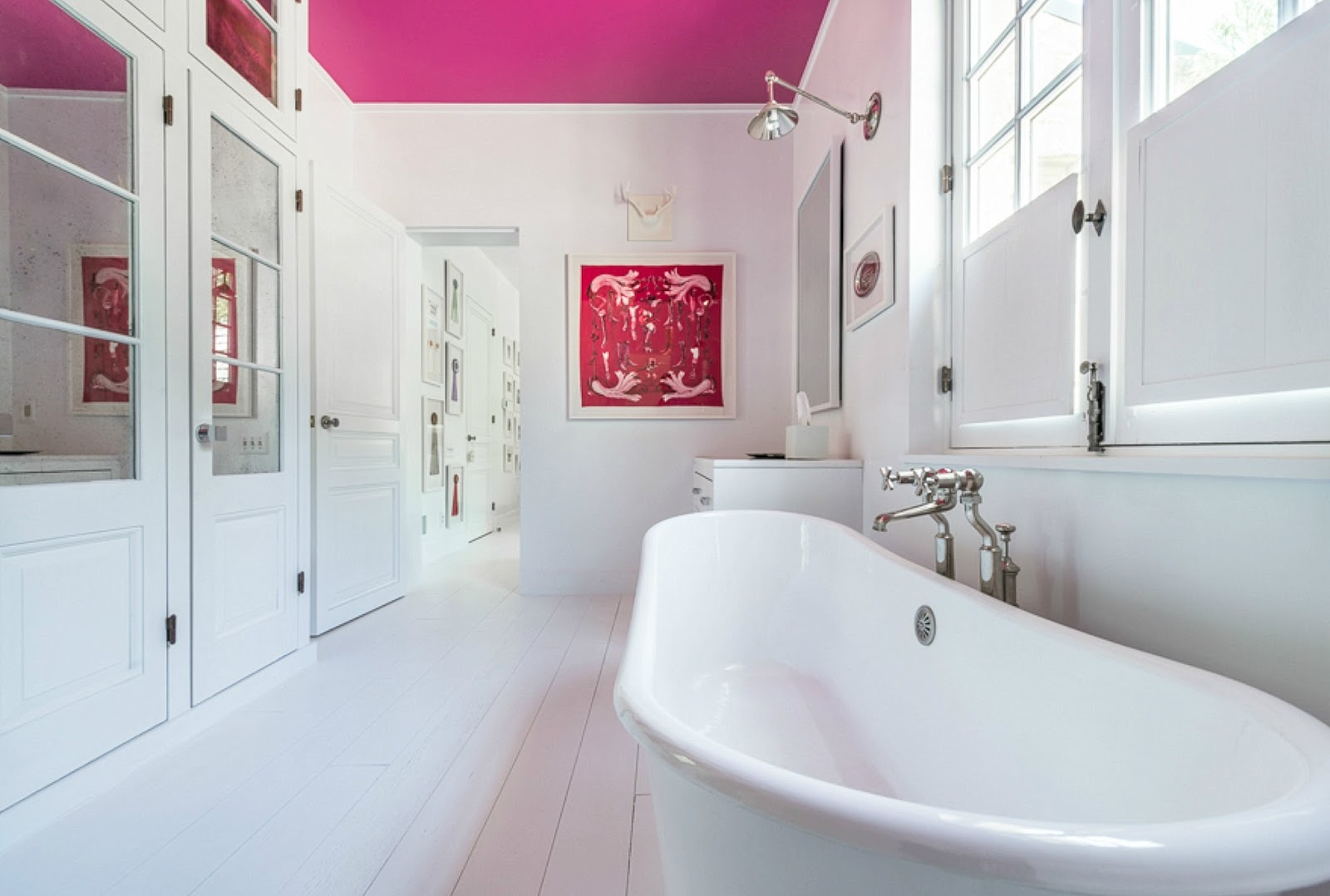 cote de texas a beautiful house in atlanta again and the bathroom with the hot pink ceiling and white wood floor love this