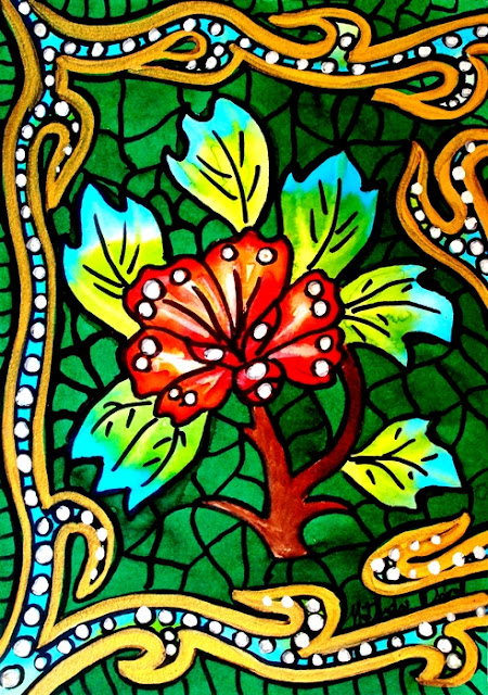 Green Stained Glass Flower by Dora Hathazi Mendes