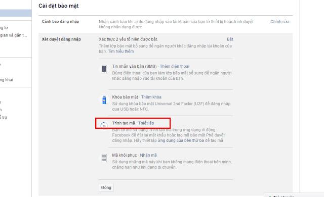 Bật Xác nhận đăng nhập Facebook