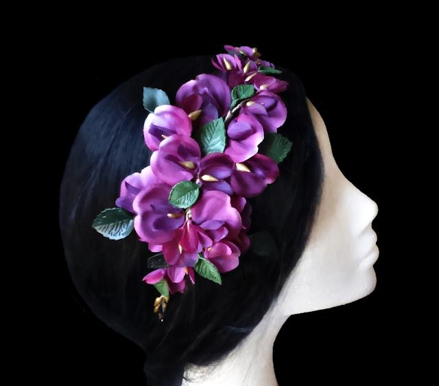 Tocado orquídeas invitada boda