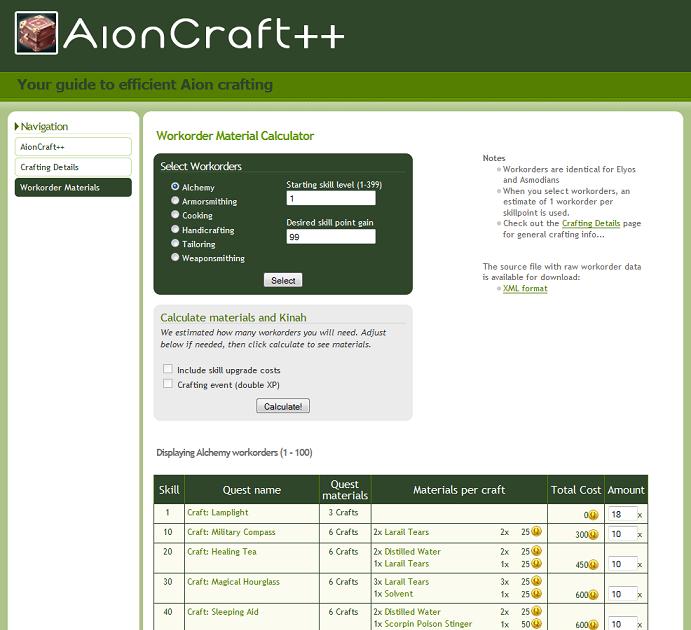 Aion Crafting Calculator