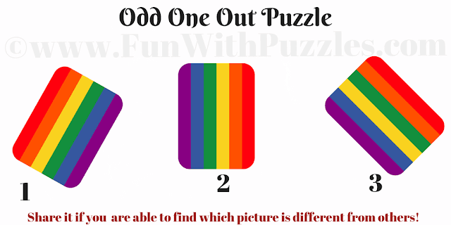 In this Odd One Out Rainbow Picture Puzzle, your task to find the rainbow which is different from other two pictures