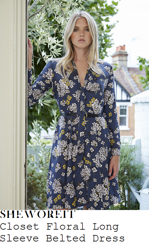 holly-willoughby-closet-navy-blue-white-and-yellow-floral-posey-print-long-sleeve-v-neck-wrap-front-pussybow-tie-detail-belted-fit-and-flare-dress